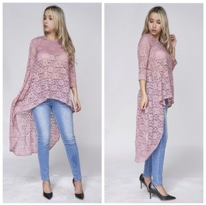 Tops - NEW Mauve Lace High Low Top also in Plus Size